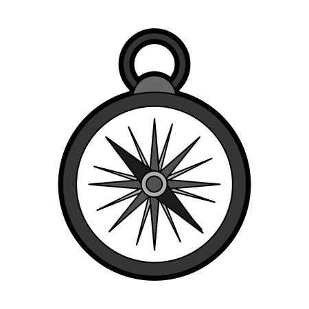 latitude: flat black compass cartoon vector graphic design