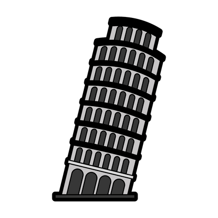 flat Leaning Tower of Pisa cartoon vector graphic design