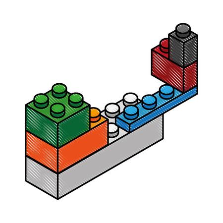 Gekritzel Spielzeug Baustein Ziegel Vektor-Grafik-design Standard-Bild - 79196578