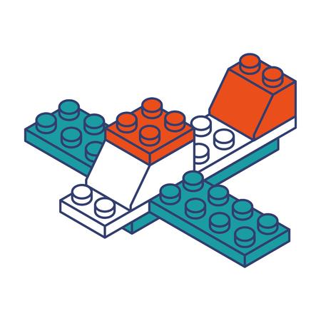 airplane toy building block bricks vector graphic design