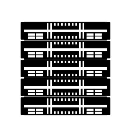 black icon server cartoon vector graphic design