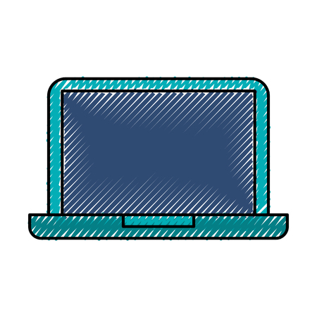 scribble blue laptop cartoon vector graphic design