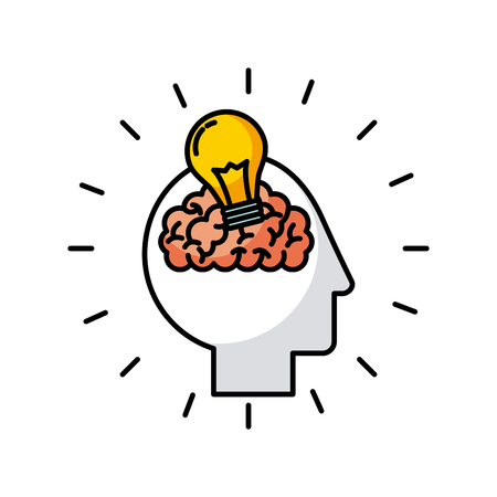 head brain bulb icon vector illustration desgn graphic