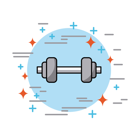 dumbbells in circle health vector icon illustration design graphic