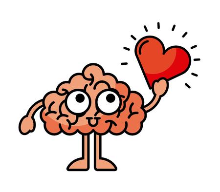 brain heart illustration icon vector graphic design