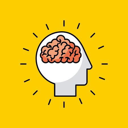 head brain illustrationicon vector desgn graphic colorful