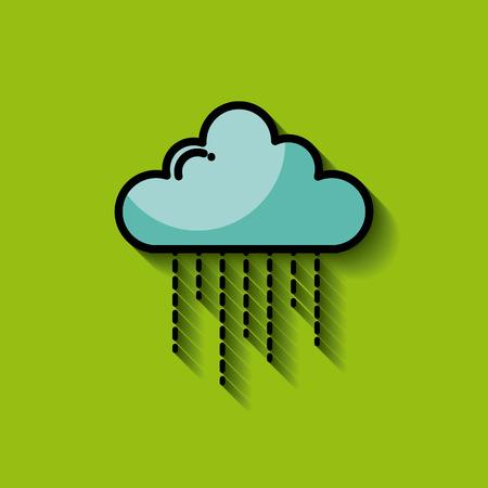 single cartoon cloud raining image vector illustration design