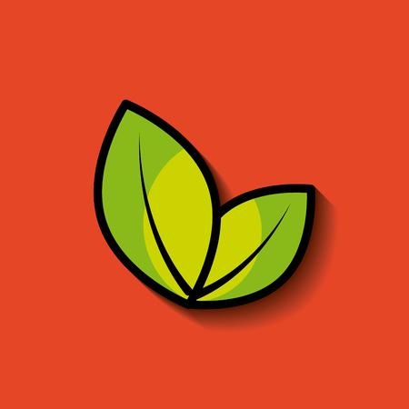 vegetate: two leaves nature concept image vector illustration design Illustration