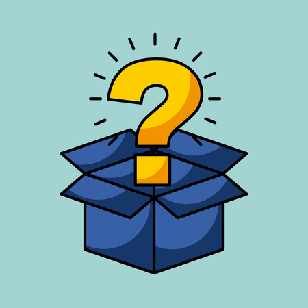cardboard box with question mark coming out concept image vector illustration design