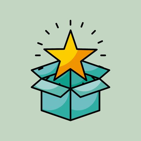 bright cartoon star coming out of box  image vector illustration design Illustration