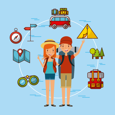 young tourist couple illustration icon vector design graphic
