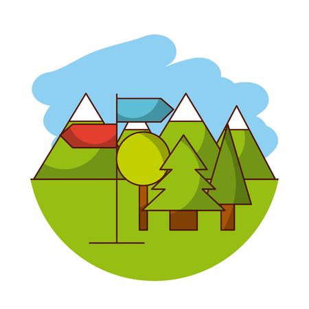 yule log: trees flat lanscape vector illustration icon design graphic