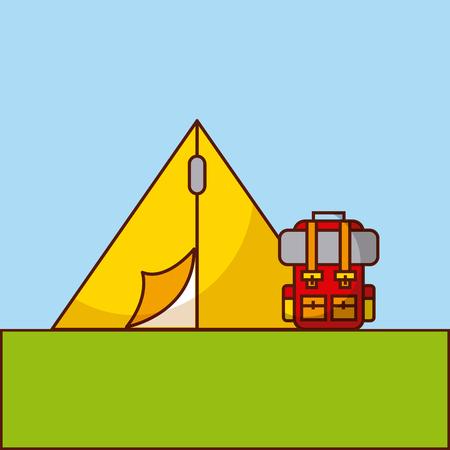 camp flat lanscape vector illustration icon design graphic