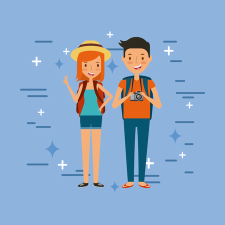 young tourist couple illustration icon vector design graphic