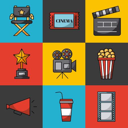 icons set cinema vector icon illustration design graphic Illustration