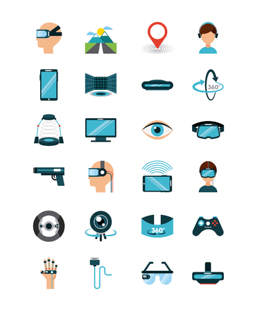 computer simulation: icons set virtual reality icon vector illustration design graphic Illustration