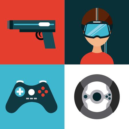 pictogrammen instellen virtuele realiteit pictogram vector illustratie ontwerp grafisch