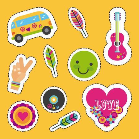 icons set hippie scenery cartoon vector illustration design graphic Illustration