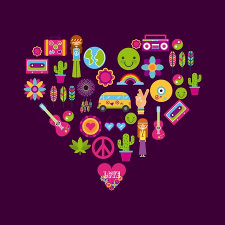 icons set hippie scenery cartoon vector illustration design graphic 向量圖像