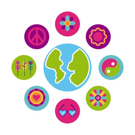 icons set hippie scenery world map cartoon vector illustration design graphic Illustration