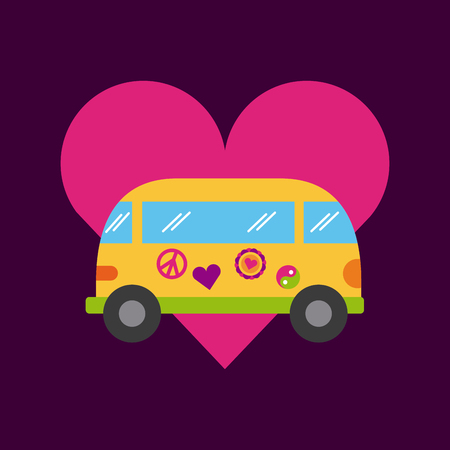 bus hippie scenery cartoon vector illustration design icon graphic