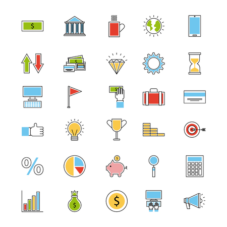 icons set analytic and investments icon vector illustration design graphic