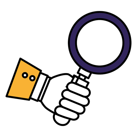 hand human with search magnifying glass icon vector illustration design Illustration