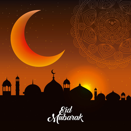 eid mubarak background icon vector illustration design graphic Иллюстрация