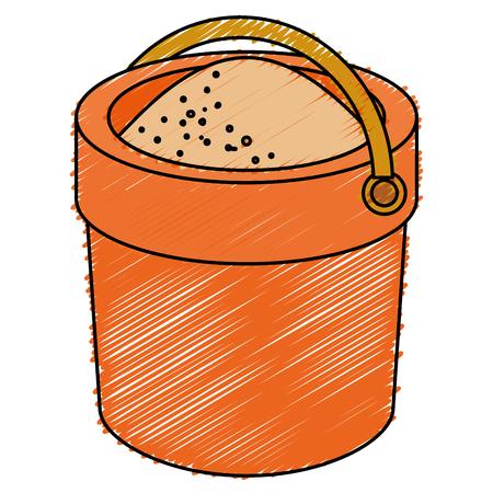 zand emmer geïsoleerd pictogram vectorillustratieontwerp Stock Illustratie