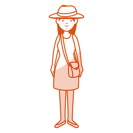 beautiful and young woman with tourist hat character vector illustration design