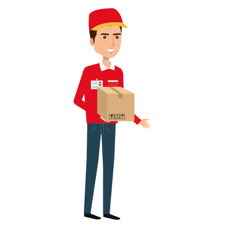 courier worker with box avatar character vector illustration design