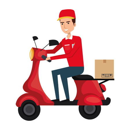 courier in scooter icon vector illustration design