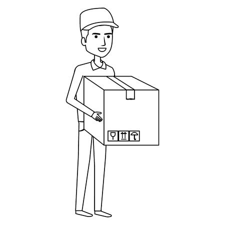 Trabajador de mensajería con diseño de ilustración de vector de personaje de avatar de caja Foto de archivo - 79267950