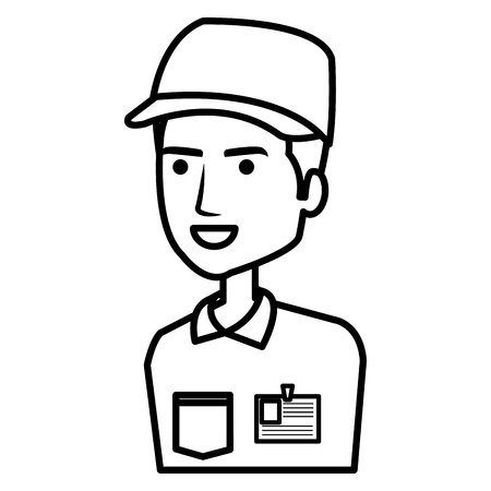 courier worker avatar character vector illustration design