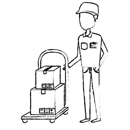 Trabajador de mensajería con diseño de ilustración de vector de personaje de avatar de manejar del coche Foto de archivo - 79267790