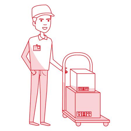 Trabajador de mensajería con diseño de ilustración de vector de personaje de avatar de manejar del coche Foto de archivo - 79267803