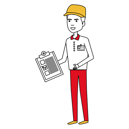 courier worker with checklist avatar character vector illustration design