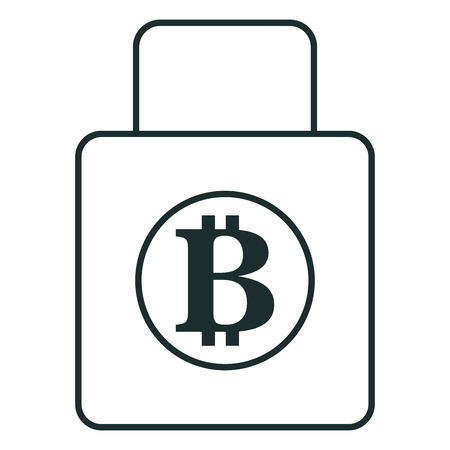 padlock with bitcoin symbol vector illustration design Illustration
