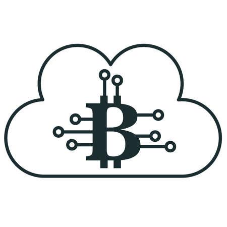 cloud computing with bitcoin symbol vector illustration design
