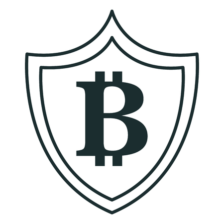 shield with bitcoin symbol vector illustration design Illustration