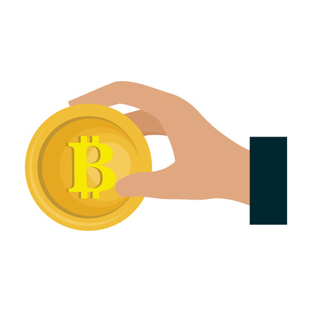 bitcoin electronic money icon vector illustration design Illustration