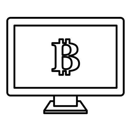 computer with bitcoin symbol vector illustration design