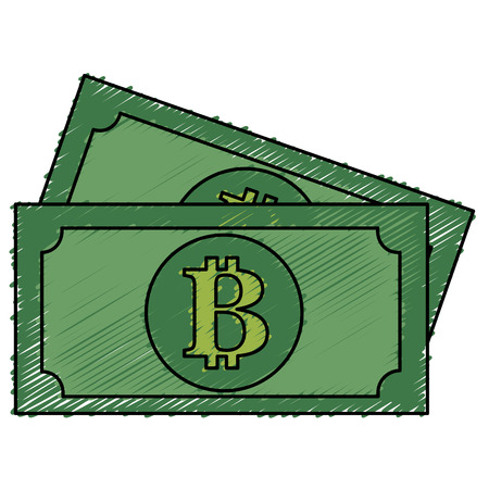 bills with bitcoin symbol vector illustration design