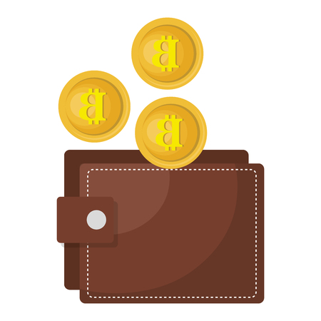 wallet with bitcoins icon vector illustration design Illustration