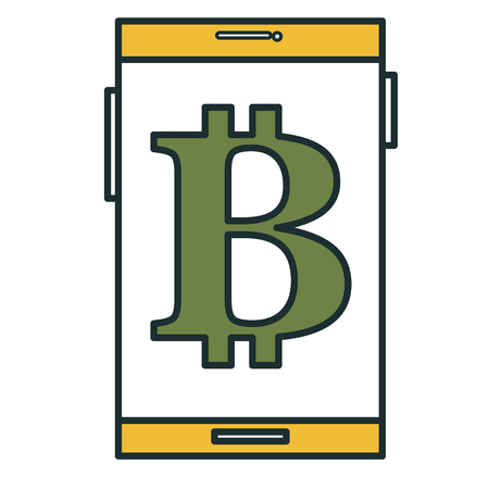 smartphone with bitcoin symbol vector illustration design