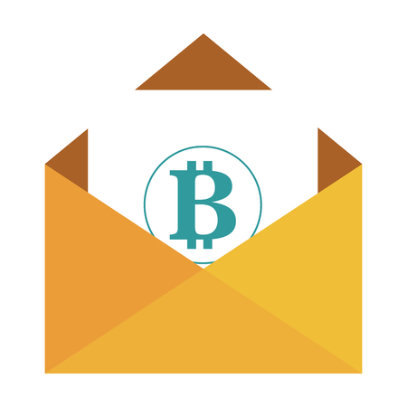 envelope with bitcoin symbol vector illustration design