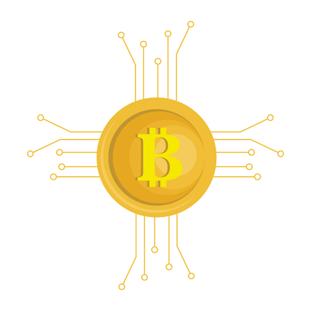 metal net: bitcoin electronic money with circuit vector illustration design