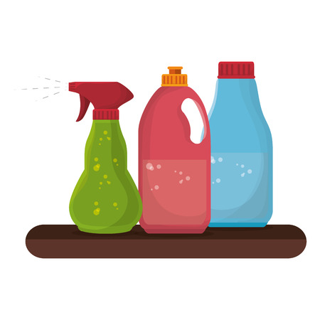 laundry care symbol: shelf with Laundry products in plastic bottles vector illustration design Stock Photo