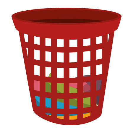 dirty clothes: plastic basket laundry icon vector illustration design