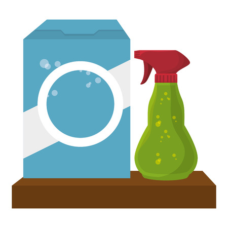 shelf with Laundry products in plastic bottles vector illustration design Illustration